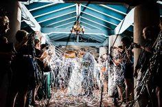 Streamer Wedding Grand Exit-Emerald and Navy Sydonie Mansion Wedding-Orlando Wedding Venue-Photo: SO Photography-Central Florida Wedding Blog-Orange Blossom Bride-www.orangeblossombride.com