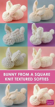 I'm loving how each Bunny has unique textures with 6 Different Free Bunny Knit Stitch Patterns and video tutorial by Studio Knit. #StudioKnit #KnittingPatterns via @StudioKnit