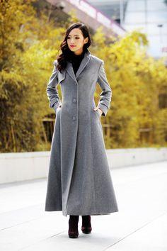 Abrigo gris elegante solapa Collar mujeres lana invierno Slim larga chaqueta - NC485
