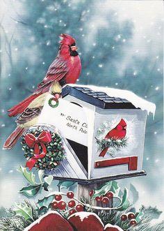 Cardinal on a Cardinal mailbox - Christmas scene #vintage #christmas #vintagechristmas