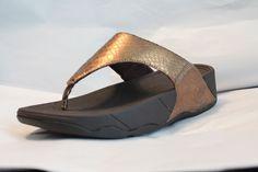 FitFlop LULU Metallic Snake Bronze Flip Flops Thongs 6 10 MSRP $100 NEW #FitFlop #FlipFlops