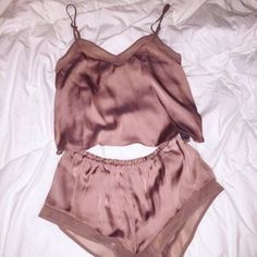 pajamas rose gold pink shorts satin shiny girly pretty