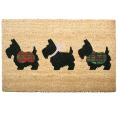Coir Door Mat - 3 Little Scottie Dogs
