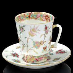 RUSSIAN Imperial Lomonosov Porcelain Bone Tea cup & saucer Golden Branсhlet Gold #ImperialLomonosov