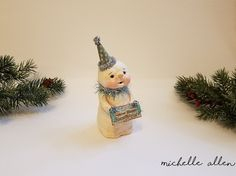 Folk Art whimsical paper Clay SNOW HAPPY holiday christmas Snowman doll Sculpt…