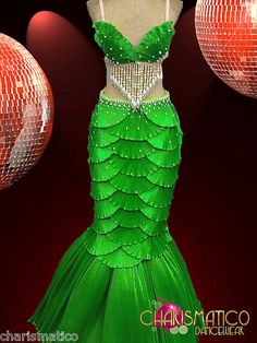 """Charismatico Green Satin """"Scaled"""" Shell Bra and Mermaid Tail Showgirl Burlesque   eBay"""