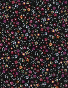 Timeless Treasures Fun C4341 Ditsy Daisy Flowers on Black - Fabric by the Yard