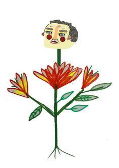 Flower Man by Ashley Percival. illustration - illustrator - art - artist - design - artwork - poster - print - wall - pattern - flower - floral - flowers