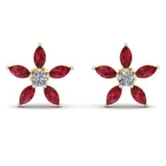 16d81dcf1 #Rosy #Floral #Studs #aurobliss Ruby Stone, Fancy Party, Traditional Outfits