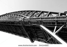 Sydney Harbour Bridge, abstract view in black and white