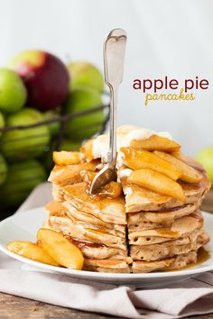 Apple Pie Pancakes - A spiced apple pancake recipe, topped with syrup ...