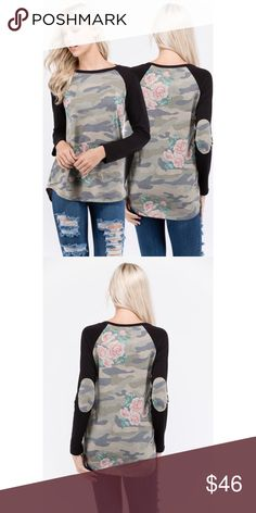 French terry camo print long sleeve top This gorgeous French terry camo print long sleeve tee is a must have. Beautiful soft material. Fits true to size. 85% polyester, 10% rayon, 5% spandex💕 Tops Tees - Long Sleeve