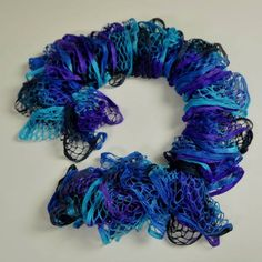Indigo Fluffy Ruffle Scarf - Fluffy ruffle scarf made of purple, blue, turquoise and gray yarn. Perfect for spring/summer season.
