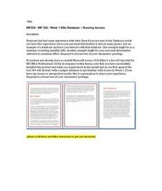 INF322  INF 322  Week 1 DQs Database  Running Access --> http://www.scribd.com/doc/153771885/inf322-inf-322-week-1-dqs-database-%e2%80%93-running-access
