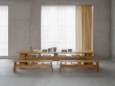 Fawley bench in oiled oak by David Chipperfield for e15