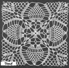 Totally Free Crochet Pattern Blog - Patterns: Pineapple Square 746 Free Crochet Pattern
