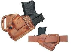 Galco SOB Small Of Back Holster for Subcompact Glock by Galco. Phenomenal holster for concealed carry. Pistol Holster, Leather Holster, Small Of Back Holster, Concealed Carry Holsters, Concealment Holsters, Kydex, Leather Projects, Guns And Ammo, Everyday Carry