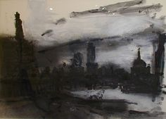 John Virtue - monotype Charcoal Drawings, A Level Art, Building Structure, Art Themes, Built Environment, Etchings, Gravure, Printmaking, Landscape Paintings
