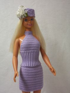 "Crochet ~ Two-Piece Halter Dress ~ My Size Barbie (36""/38"")"