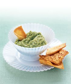 Makes 2 1/3 cups  Hands-On Time: 05m   Total Time: 05m  Ingredients  1 14-ounce bag frozen broccoli, thawed  1 cup low-fat cottage cheese  kosher salt  1 5-ounce package pita chips  Directions  Puree the broccoli, cottage cheese, and 1/8 teaspoon salt in a food processor until smooth. Serve with the pita chips.