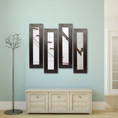 Rayne Mirrors Molly Dawn Brown Leather Wide Wall Mirror