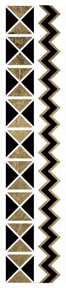 Fashion Tats Black & Gold Geo Zig Zag Bracelets
