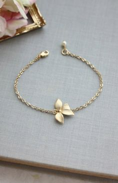 Gold Orchid Flower Swarovski Ivory Pearl Bracelet. Flower Bracelets. Bridesmaids Gifts, For Sister. Flower Girl. Maid Of Honor. By Marolsha.