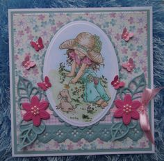 Sarah Kay stamp 'Isobelle and Cocoa' coloured with Copics, die cuts by Marianne Design