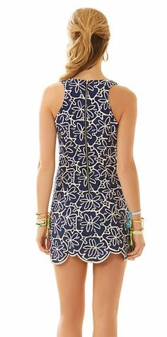 Lilly Pulitzer Agusta Shift Dress shown in  True Navy Metallic Sanddollar Eyelet.