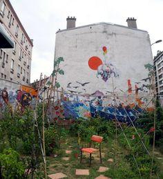 In a collective plot area - Rue Fessartm Paris, France.