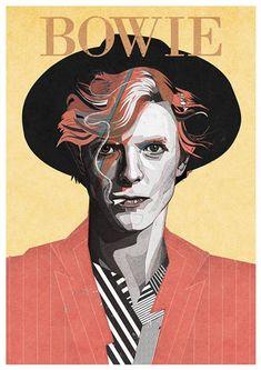 David Bowie illustration by Zaneta Antosik David Bowie Poster, David Bowie Art, David Bowie Quotes, David Bowie Music, David Bowie Tattoo, Rock Posters, Band Posters, Music Posters, Retro Posters