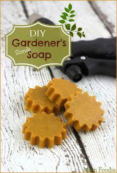 DIY Gardener's Soap epsom salts, sea salts, our and melt, essential oil, coloring.