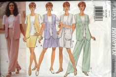 Butterick Sewing Pattern 4053 Misses Size 6-14 Easy Classics Wardrobe Vest Top Skirt Shorts Pants  --  Butterick+Sewing+Pattern+4053+Misses+Size+6-14+Easy+Classics+Wardrobe+Vest+Top+Skirt+Shorts+Pants