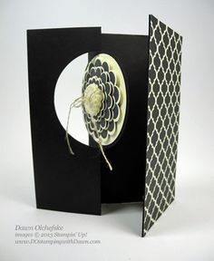 Dawn Olchefske - video in post - how to make a thinlit flip card with extended flap -  stampin up, dostamping, dawn olchefske, thinlits card die, modern medley, five way flower, extended flap, video