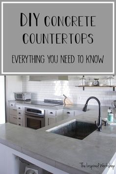 Pour in Place Concrete Countertops are a budget friendly DIY option for countertops! Come see the reveal of our kitchen renovation and read the in depth tutorial for the concrete countertops! We poured white concrete countertops and gray and boy do I have a ton of information to share!
