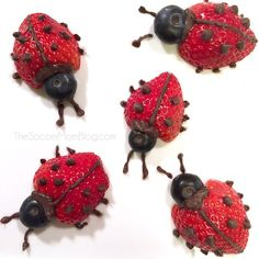 Ladybugs These easy fruit ladybugs make eating fruit fun! A healthy snack or dessert for kids that they will love to eat!These easy fruit ladybugs make eating fruit fun! A healthy snack or dessert for kids that they will love to eat! Food Art For Kids, Crafts For Kids, Easy Food Art, Easy Crafts, Plat Halloween, Deco Fruit, Valentine Desserts, Valentines Food, Valentine Nails
