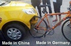 Car & bike - Made in China versus Made in Germany car humor funny Chuck Norris, Funny Car Memes, Car Humor, Hilarious, Memes Lol, Funny Laugh, Funny Humor, Funny Images, Funny Photos