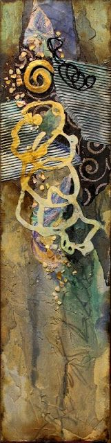 """CAROL NELSON FINE ART BLOG: Mixed media abstract seascape collage, """"Tidepool"""" ©…"""