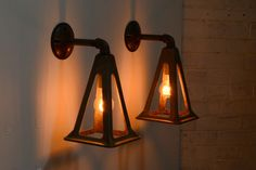 Pair of Wall Sconces Industrial Lighting Metal Architectural Antique Lighting