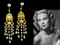 """Gold and Pearl Earrings worn by Grace Kelly in """"High Society"""""""