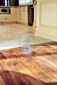 Hardwood And Tile Floor In Residential Home Kitchen Dining