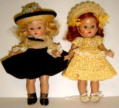 2 Vintage Strung Vogue Ginny Dolls, Painted Lashes & Vogue Clothes