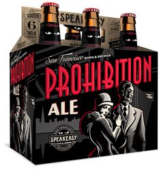 Speakeasy Ales & Lagers Prohibition Ale 12oz. 6-pack -designed by Emrich Office