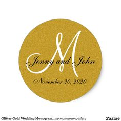 Glitter Gold Wedding Monogram Seals Sticker A shimmery gold personalized monogrammed wedding envelope seal adds elegance to your wedding invitation mailing. Design by Elke Clarke ©2008. Printed gold glitter photo effect. Great as an envelope seal for your wedding invitations or as a label for your wedding favors or wedding sweet treat bags or wedding cake boxes. Also great for wedding showers, anniversaries, engagement showers, thank you cards and more. Personalize with your bride and groom…