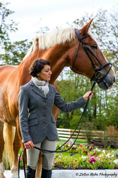 """O.S. Sponsored Rider, Saacha DeAmborossio, looks stunning in O'Shaughnessey's classic black & white houndstooth """"Bronte Hacking Jacket"""" !"""