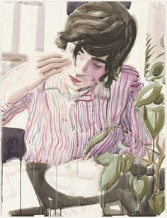 Elizabeth Peyton. Lunch (Nick). 2003. Watercolor on paper, 29 7/8 x 22 1/2""