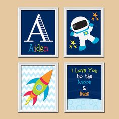 Rocket Outer Space Ship Boy Name Monogram I Love You to the Moon Set of 4 Prints…