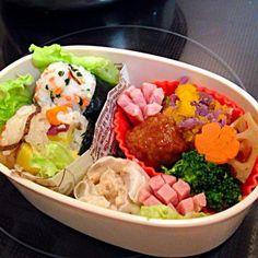 かぼちゃと紫芋のマッシュもね! - 11件のもぐもぐ - おにぎり弁当 by kana21n