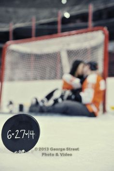 The puck in focus with us blurred in the background