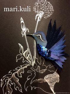"""Брошь птица """"Индиго mini"""" – купить в интернет-магазине на Ярмарке Мастеров с доставкой"""